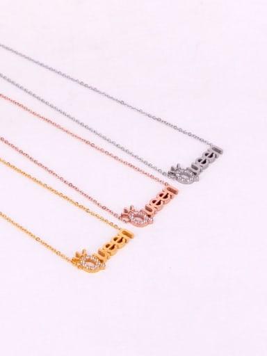 Titanium Letter  Cubic Zirconia Message Dainty Initials Necklace