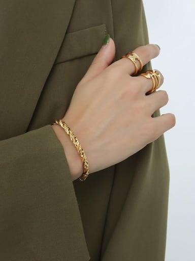 E021 Gold Bracelet Titanium Steel Hip Hop Irregular Bracelet and Necklace Set
