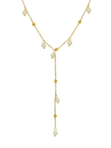 Titanium 316L Stainless Steel Imitation Pearl Geometric Vintage Tassel Necklace with e-coated waterproof