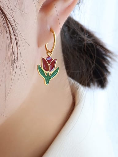 F483 gold tulip Earrings Titanium 316L Stainless Steel Enamel Vintage Friut  Earring and Necklace Set with e-coated waterproof