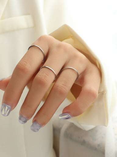 steel color Titanium 316L Stainless Steel Geometric Minimalist Band Ring with e-coated waterproof