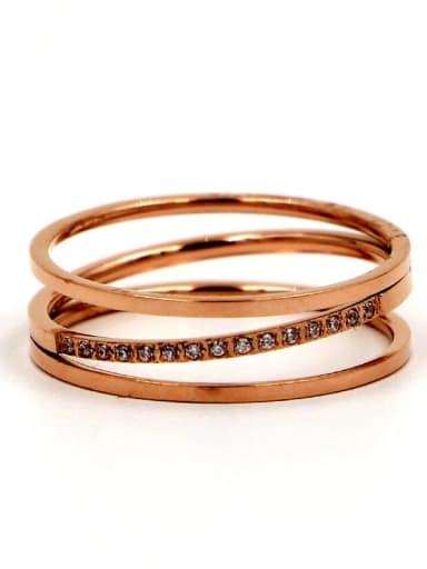 Titanium Cubic Zirconia Geometric Dainty Stackable Ring