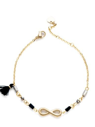 Stainless steel Bead Tassel Dainty Link Bracelet
