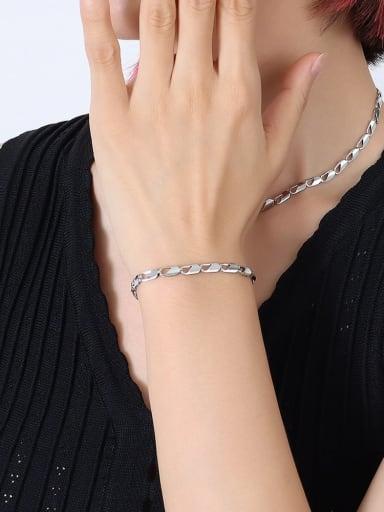 Titanium Steel Minimalist Irregular Braclete and Necklace Set