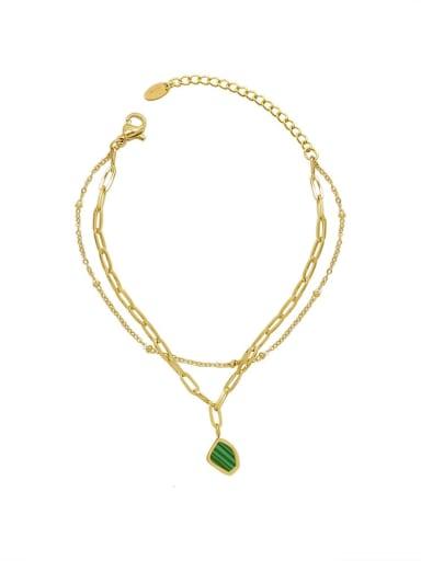 E020 gold Titanium Steel Enamel Geometric Minimalist Strand Bracelet