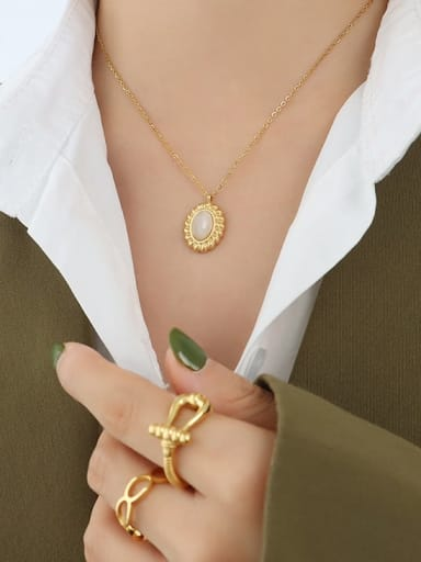 P098 Gold Opal Necklace 40 +5cm Titanium Steel Cats Eye Minimalist Geometric  Earring and Necklace Set