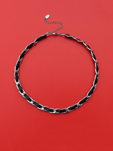 Steel collar 33+5cm Titanium 316L Stainless Steel Leather Weave Vintage Choker Necklace with e-coated waterproof