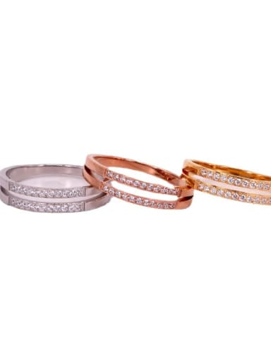 Titanium Steel Rhinestone Geometric Minimalist Stackable Ring