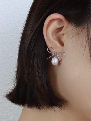 Steel Earrings Titanium 316L Stainless Steel Freshwater Pearl Irregular Vintage Stud Earring with e-coated waterproof