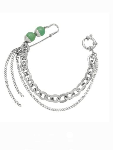 E297 green  18.5cm Titanium Steel Geometric Minimalist Strand Bracelet