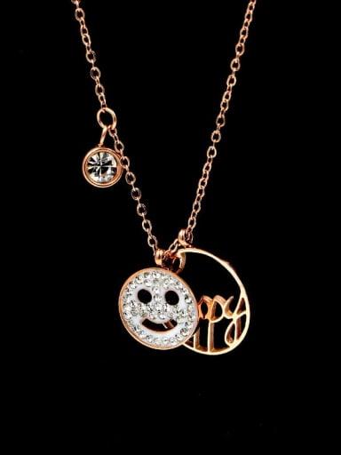 Titanium Rhinestone Letter Minimalist pendant Necklace