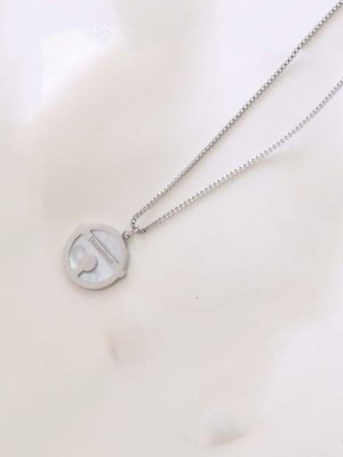 Steel color large 2cm Titanium Steel Shell Round Minimalist Necklace
