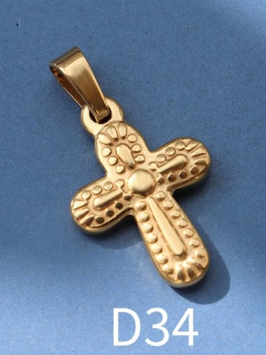 D34 gold Titanium Steel Vintage  Cross Pendant