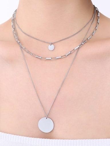 Steel three-layer Necklace Titanium Steel Geometric Minimalist Multi Strand Necklace