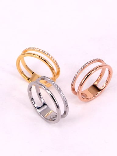 Titanium Steel Rhinestone  Minimalist Hollow Stackable Ring