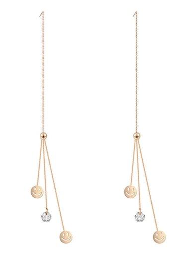 Long Tassel Earrings color preserving rose gold thin smiling face ear line