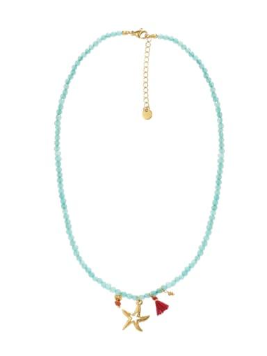 Starfish Titanium Steel Necklace Handmade Beads Natural Stone Round Beads Summer Beach Holiday Clavicle Chain