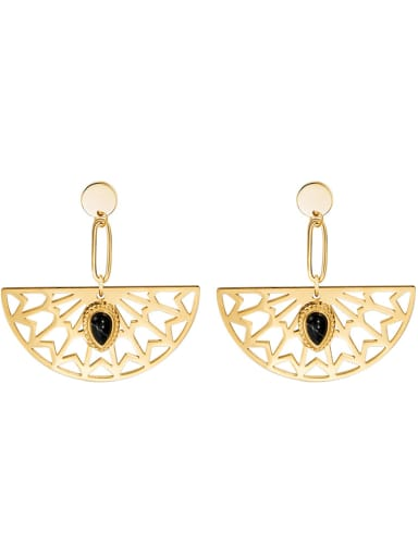 Natural stone inlaid sector plated 14K Gold Stainless Steel Earrings