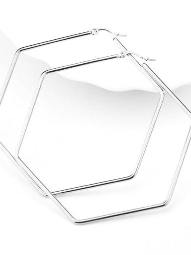 Hexagonal steel color Titanium Steel Geometric Minimalist Huggie Earring
