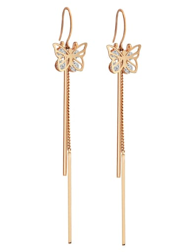 Zirconium titanium steel butterfly fashion thin fairy gas long Tassel Earrings
