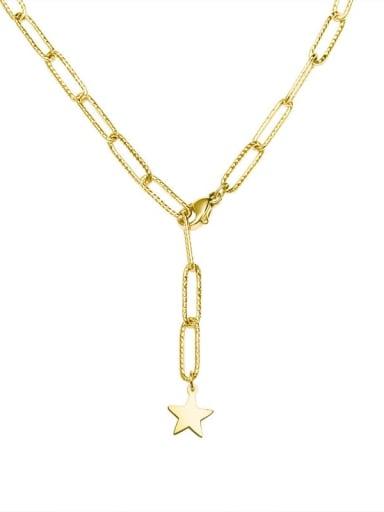 Titanium Steel Geometric Minimalist Lariat Necklace