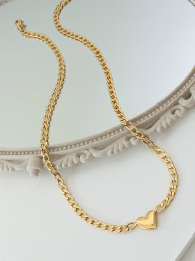 P1115 gold  40+5cm Titanium Steel Heart Minimalist Hollow Chain  Necklace