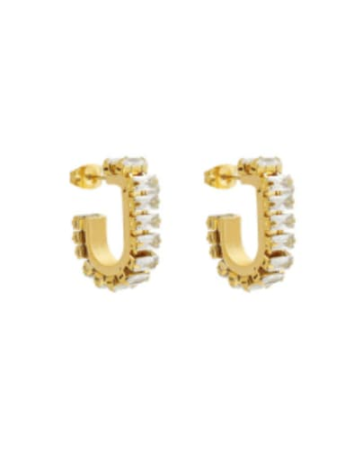 F543 gold Zircon Earrings Titanium Steel Cubic Zirconia Geometric Hip Hop Huggie Earring