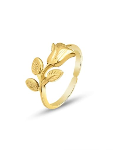 A146 gold  ring Titanium 316L Stainless Steel Cute Flower  Ring and Necklace Set with e-coated waterproof