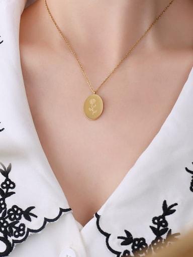 P1140 gold Titanium Steel Geometric Minimalist Necklace