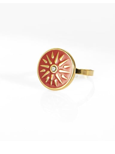 Red Inlaid zircon star oil drop retro titanium steel ring