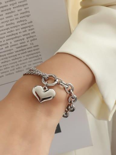 steel Titanium 316L Stainless Steel Heart Vintage Strand Bracelet with e-coated waterproof