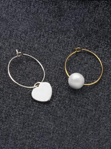 Pearl steel pair Titanium Steel Star Minimalist  Heart Shaped Huggie Earring