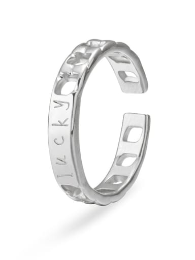 Silver Stainless steel hollow chain couple ring
