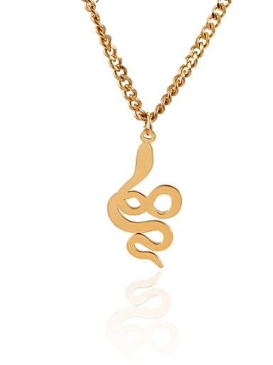 Fashion exaggerated personality animal pendant golden snake-shaped necklace