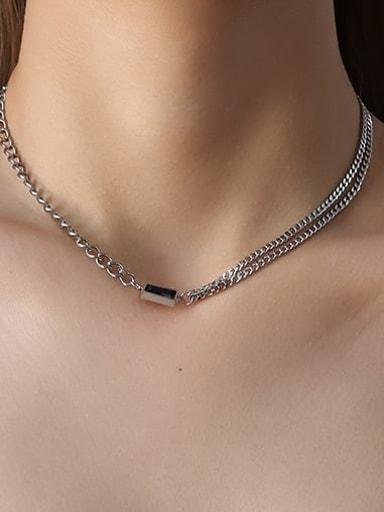 P765 Steel Necklace Black zircon 40 +5cm Titanium Steel Minimalist Geometric  Glass Stone Braclete and Necklace Set