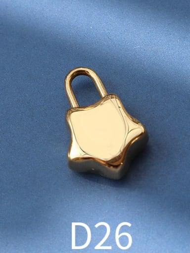 D26 gold big five pointed star lock Titanium Steel Cute  Lock Heart Pendant