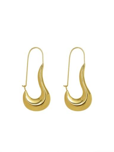 F498 gold earrings Titanium Steel Geometric Minimalist Hook Earring