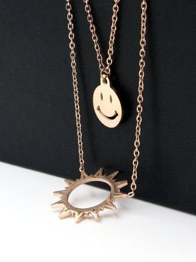 Titanium Face Dainty Long Strand Necklace