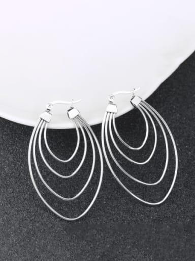 Steel color Titanium Steel Geometric Minimalist Huggie Earring