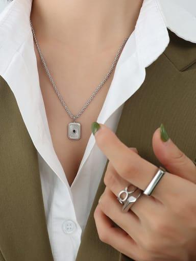 Titanium Steel Geometric Vintage Bead chain  Necklace