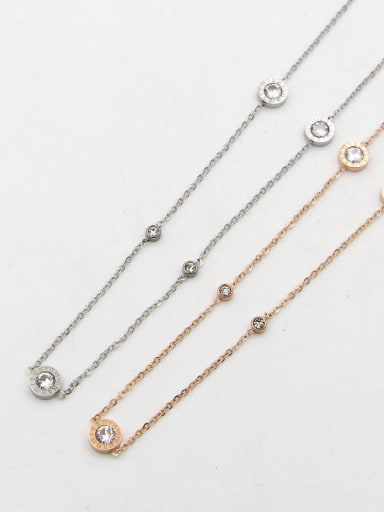 Titanium Rhinestone Number Minimalist Necklace