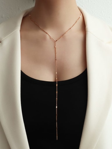 Long rose gold Titanium 316L Stainless Steel Tassel Minimalist Lariat Necklace with e-coated waterproof