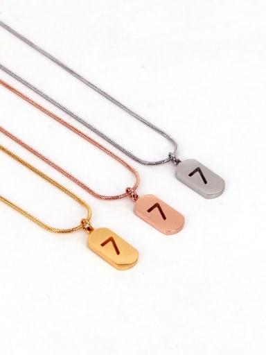 Titanium Number Minimalist Initials Necklace