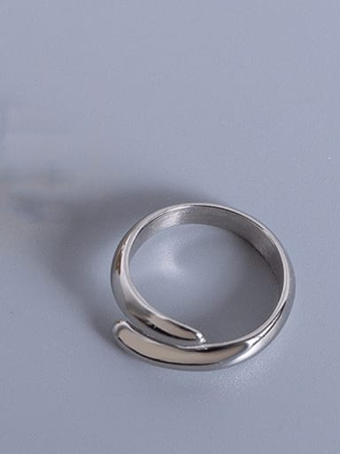 Steel color double-layer opening  ring Titanium Steel Smooth Geometric Minimalist Stackable Ring