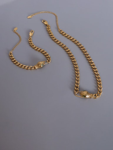 Titanium 316L Stainless Steel Vintage Hollow Geometric Chain  Braclete and Necklace Set with e-coated waterproof
