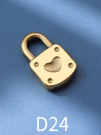 D24 gold love lock Titanium Steel Cute  Lock Heart Pendant
