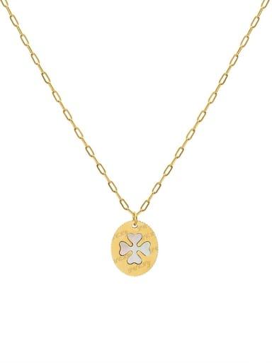 Gold necklace 40+5cm Titanium Steel Shell Clover Minimalist Necklace