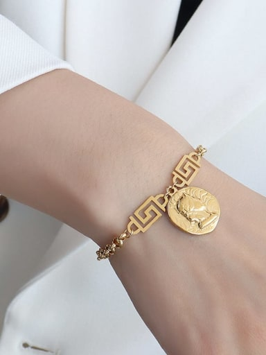 E091 gold bracelet 15+ 5cm Titanium 316L Stainless Steel Vintage Irregular  Braclete and Necklace Set with e-coated waterproof