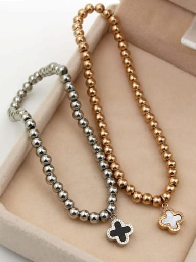 Titanium Shell Flower Classic Beaded Bracelet