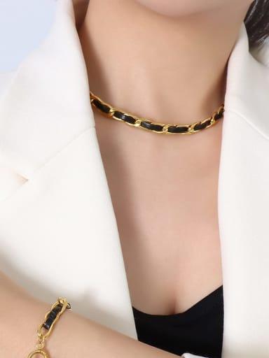 P047 gold necklace 40cm Titanium Steel Hip Hop Geometric Leather Braclete and Necklace Set